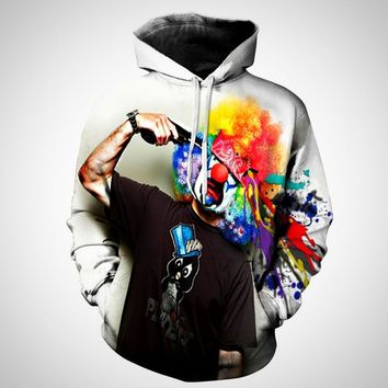 Womens Men Realistic 3D Digital Print Pullover Hoodie