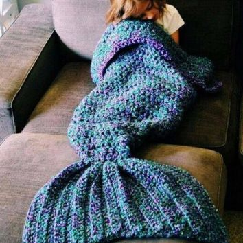 One-nice™ Mermaid blanket air conditioning blanket TV blanket handmade rug rug mermaid tail Christmas Gift