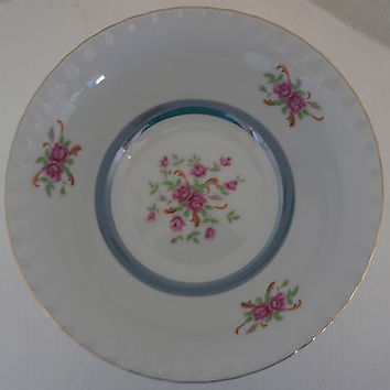 Vintage Fine China Classic Serving Bowl Hand Painted with Roses & Blue Luster