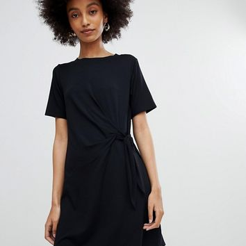 New Look Black Ruched Side Jersey Tunic Dress at asos.com