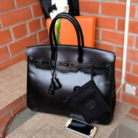 Rare HERMES Birkin 35cm SO BLACK Box calf 2011 Leather bag purse