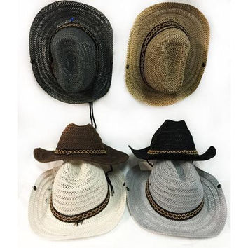 Mesh Cowboy Hat with Braided Hat Band