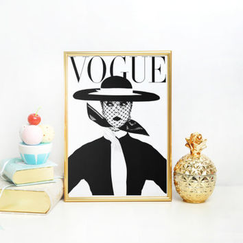 Vogue Print Gift For her Mode Affiche Dorm room Vintage Vogue poster Vogue Cover Poster PRINTABLE FILE - Fashion art poster Vogue Print