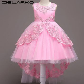 Cielarko Girls Mermaid Dress Formal Kids Birthday Party Dresses Flower Children Wedding Dress Elegant Fancy Frocks for Teenage