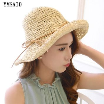 Summer Handmade Straw Hat Women's Garland Sunbonnet Bucket hat roll-up hem Beach Cap Dome Sun Hat for Women chapeu