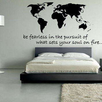 World Map Decal - Be Fearless In The from PulpKitchenGraffiti on