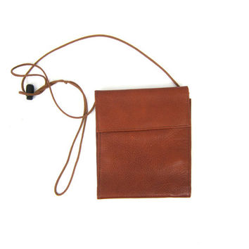 Small JP Ourse & Cie Vintage Leather Wallet Purse w Crossbody Strap Brown Preppy Across Body Bag Billfold Wallet Cross Body Purse