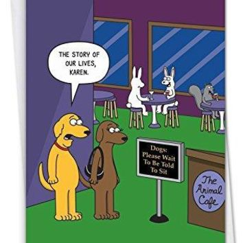 The Animal Cafe - Hysterical Birthday Card, with Envelope - Funny birthday card - Free Shipping