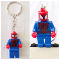 BOGO Buy 1 Get 1 Promo! Lego® SPIDERMAN Justice League Keychain, Lego Superhero Keychain, FREE Lego® Minifigure Keychain Party Favors Gift