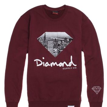 Diamond Supply Co Big City Fill Crew Fleece - Mens Hoodie - Maroon