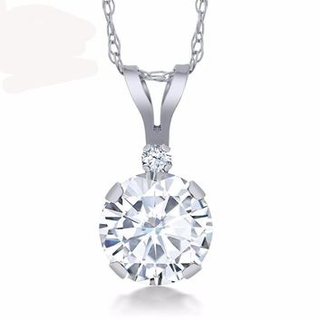 0.70 Ct White Created Moissanite White Created Sapphire 14K White Gold Pendant