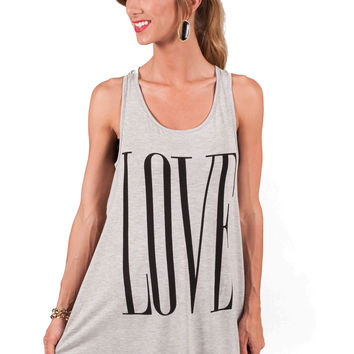 He Loves Me Tank- Grey