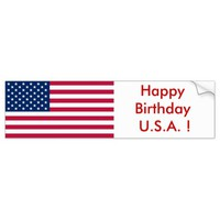 Sticker Flag of the USA, Happy Birthday U.S.A. !