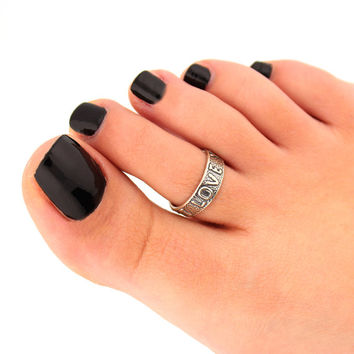 sterling silver toe ring i love you toe ring adjustable toe ring (T-75) knuckle ring
