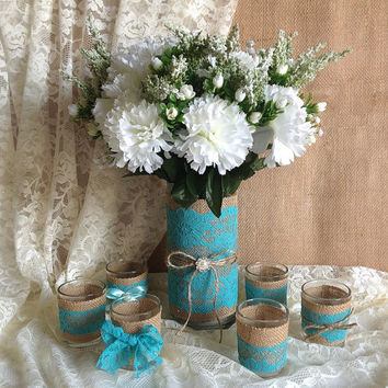 Deep Turquoise blue lace and natural burlap covered glass vase and 6 votice tea candles, wedding, birthday, bridal shower, baby shower,decor