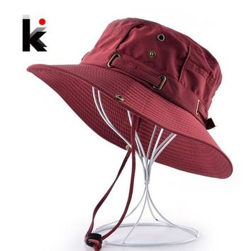 LMFON Beach Hats For Men Bob Woman Summer Bucket Gorras Outdoors Casual Hiking Fishing Caps Men's UV Protection Sun bone Casquette