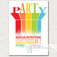 Art Birthday Party Invitation  Rainbow by lemonademoments on Etsy