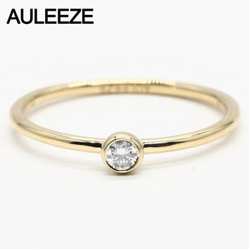 18KT Yellow Gold Band 2.5mm Moissanite Lab Grown Diamond Ring
