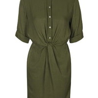 Twist Front Shirt Dress - Khaki
