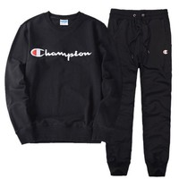 PEAPUF3 Champion Casual Pullover Round Neck Sweater Pants Trousers Set Two-Piece