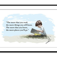 The more you learn, the more places you'll go Dr Seuss Inspired Motivational Quote Wall Art Print Children's Book Illustration