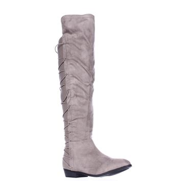 MG35 Cayln Over-the-Knee Strappy Boots, Grey, 6.5 US