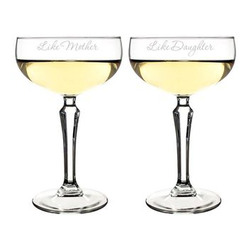 8.25 oz. Mother Daughter Champagne Coupe Toasting Flutes
