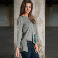 Gray Asymmetrical Long-Sleeved Knit Shirt