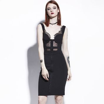 Vampire Bodycon Black Lace Pin Up Goth Wiggle Dress