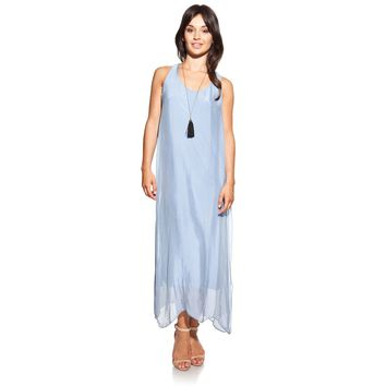 Maxi silk blue dress with side openings