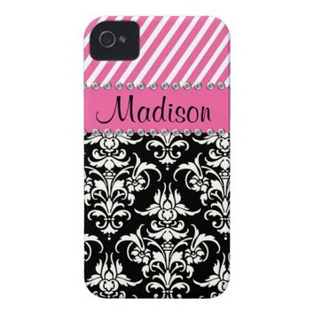 Black & White Damask / Pink Stipes Rhinestone Case iPhone 4 Cover from Zazzle.com