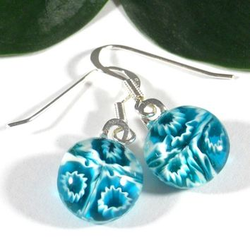 Transparent Aqua Blue Earrings White Flowers, Sterling Silver Hooks