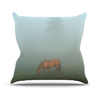 "Angie Turner ""Horse in Fog"" Blue Mist Outdoor Throw Pillow"