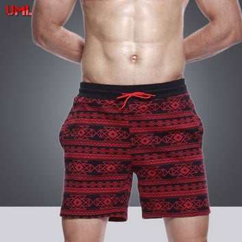 UMLIFE  Men Swimwear Print Men's Swimsuits Swim Trunks Boxer Briefs Sunga Swim Suits Breathable Maillot De Bain Beach Shorts