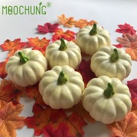 Decorative White Artificial Pumpkin For Halloween Autumn Fall Thanksgiving Harvest Home Kitchen Decoration Gourds Maple leaves
