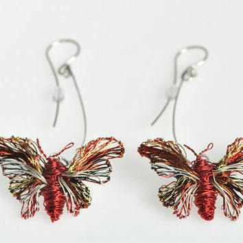Butterfly earrings Red earrings Long earrings Wire jewelry Dangle earrings Butterfly jewelry Unique birthday gift Art earrings Contemporary