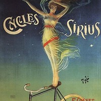CYCLES SIRIUS BICYCLE WOMAN LEVALLOIS PERRET FRANCE LARGE VINTAGE POSTER REPRO