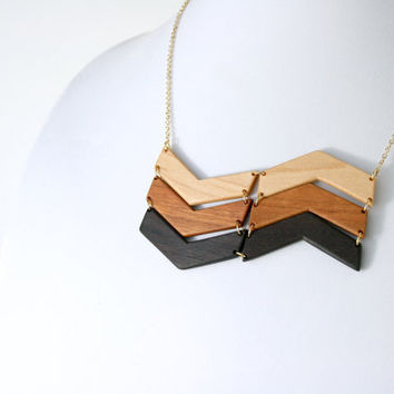 Large Natural Wooden Chevron Bib Necklace in Maple, Cherry, and Walnut