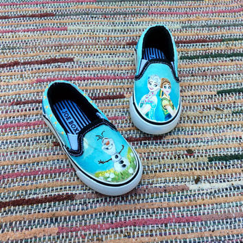 Toddler custom painted Disney Frozen Fever character shoes