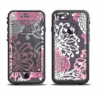 The Pink and White Solid Flowers Apple iPhone 6 LifeProof Fre Case Skin Set