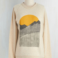 Mid-length Long Sleeve Sweatshirt Alpine Shine Sweatshirt in Ecru