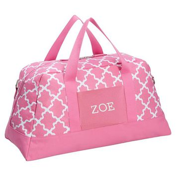 Sleepover Pink Carnation/White Diamond Lattice Duffle