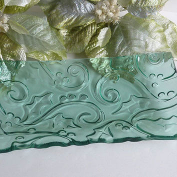 Holly Imprinted Glass Platter in Pale Blue Green