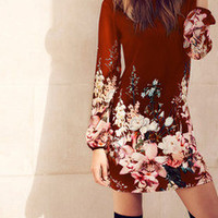 Red Dress Long Sleeve Floral Dress