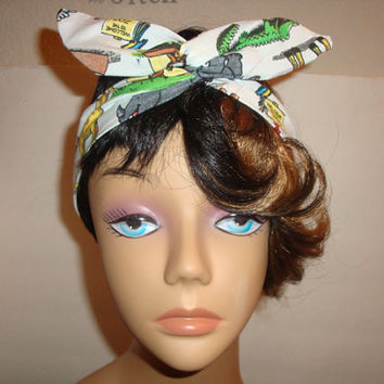 Dolly bow teen women Wired headband tie pinup hair bow CURIOUS GEORGE MONKEY White fabric head band Rockabilly