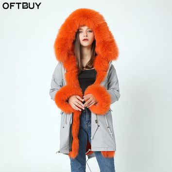 brand 2017 outwear long fur coat winter jacket women parka real natural large fox Fur Collar hooded Thick Warm rabbit Fur liner