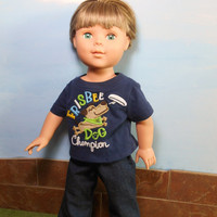 18 Inch Boy Doll Frisbee Dog T-Shirt and Blue Jeans, Short Sleeved Navy Frisbee Dog Champion T shirt, 18 Inch Boy Doll Clothes