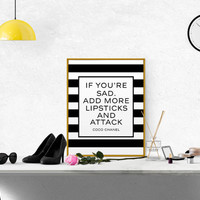 """GIRL ROOM DECOR """"On a Bad Day There Is Always Lipstick"""" typographic black and white print gallery wall Wale up and makeup Fashion Quote Art"""