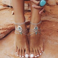 Vintage Turquoise and Silver Ankle Bracelet Jewelry