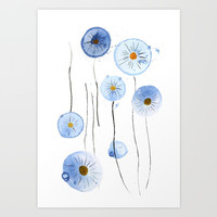 blue abstract dandelion 2 Art Print by Color and Color